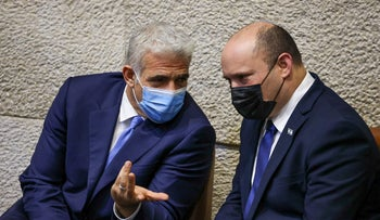 Foreign Minister Yair Lapid and Prime Minister Naftali Bennett at the Knesset on Wednesday.