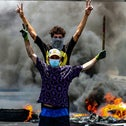 Protesters burning tires during a demonstration demanding the return of electricity in Basra, last week.