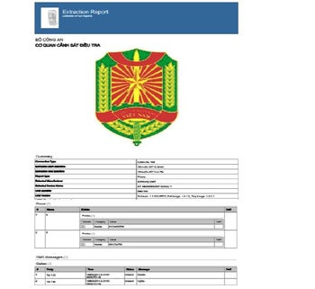 A digital forensic report, as seen on the website for Vietnam's Public Security Ministry