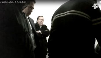 A screen grab from Tomas Zeron de Lucio interrogation for his role in possibly covering up the disappearance and murder of a group of Mexican students