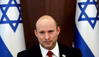 Prime Minister Naftali Bennett during a weekly cabinet meeting in Jerusalem, on Sunday.