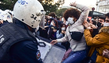Police clash with students of Bogazici University in Istanbul in January.