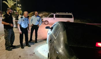 The murder scene in Hura, southern Israel, today.