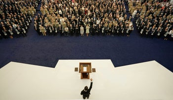 Syria's President Bashar Assad before swearing the presidential oath for a fourth term, in Damascus, Syria, Saturday.