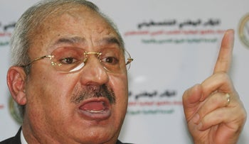 Talal Naji, then assistant Secretary-general for the PFLP-GC, speaks at a Damascus press conference in 2008.
