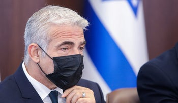 Foreign Minister Yair Lapid at a cabinet meeting in the Knesset last week.