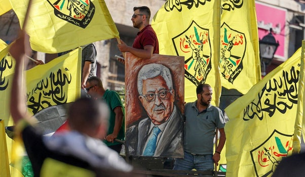Palestinian supporters of President Mahmoud Abbas in Ramallah.