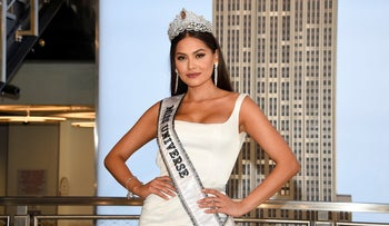 Miss Universe, Andrea Meza of Mexico, poses for the media during her visit to the Empire State Building on May 18, 2021, in New York.