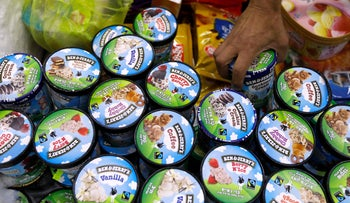 A customer buys Ben & Jerry's ice cream in Jerusalem this week