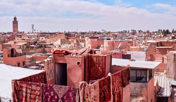 Carpets hang off a building in Marrakech, Morocco, in 2019.