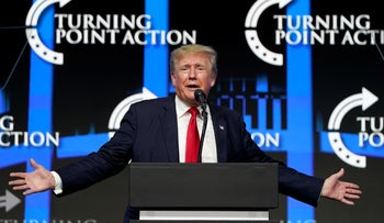 Former President Donald Trump speaks to supporters at a Turning Point Action gathering, Phoenix, Arizona.
