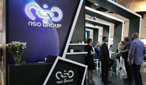 """Israeli cyber firm NSO Group's exhibition stand is seen at """"ISDEF 2019"""" in Tel Aviv."""