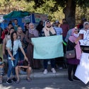 Protesters demonstrating against the extension of the amendment preventing Palestinian family reunification, June 2021.