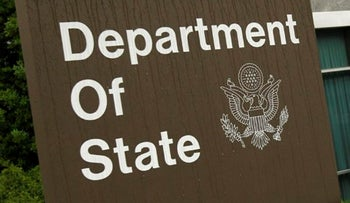 A sign at the U.S. State Department building in Washington.
