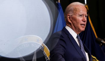 President Joe Biden at the Office of the Director of National Intelligence in Virginia on Tuesday.