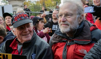 Ben Cohen (left) and Jerry Greenfield, co-founders of Ben & Jerry's ice cream, attend a protest in Washington, in 2019.