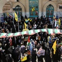 People gather during a protest to express solidarity with the Palestinian people amid a flare-up of Israeli-Palestinian violence, in Tehran, Iran May 18, 2021