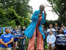 Ohio congressional candidate Nina Turner speaking at a campaign rally in Cleveland last week.