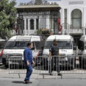 Members of Tunisia's security forces outside parliament headquarters in Bardo, on Saturday.