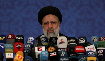 Iran's new President-elect Ebrahim Raisi during a news conference in Tehran, Iran, June 21, 2021