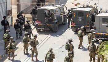 Israeli troops deployed during clashes at the funeral of 12-year-old Mohammed al-Alami near Hebron, last week.