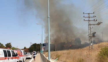 The fire from apparent rocket fire in Kiryat Shmona, near Israel's border with Lebanon