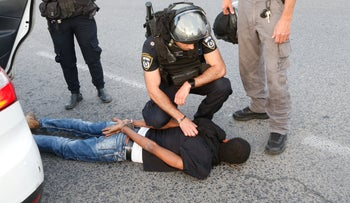 An Ethiopian arrested by Israel Police, two years ago.