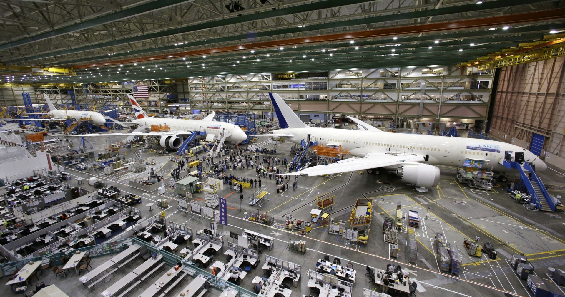 May 29, 2013: A line of Boeing 787 jets sit on the floor nearing completion at the company's production plant in Everett, Was