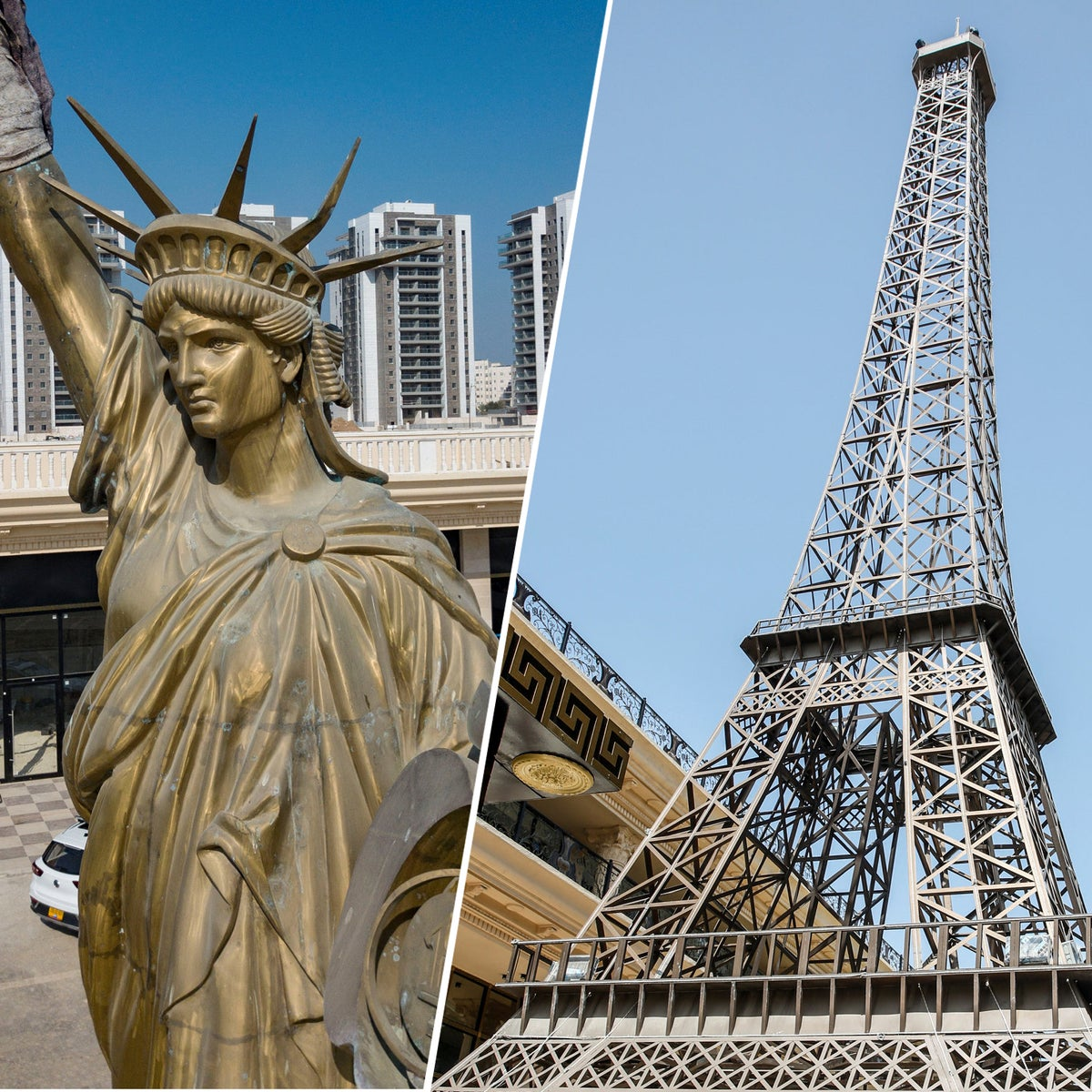 The Statue of Liberty replica in Netivot's Manhattan Project and the model of the Eiffel Tower at the Paris Center in the city.