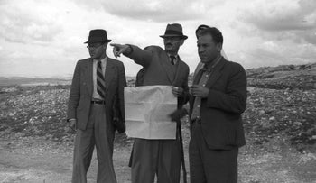 Yosef Weitz, center, surveying land scheduled for purchase by the JNF. Maybe the photographer wanted to say that the soil of Palestine was not exactly empty.