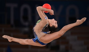Linoy Ashram performing the ball routine at Tokyo Olympics, today.