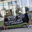 A protest outside NSO Group's offices in Herzliya, last month.