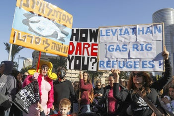 A demonstration in Tel Aviv against Israel's offshore Leviathan field, 2019.