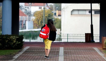 A student at a school in Gedera, in March.
