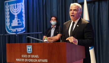 Yair Lapid at the Foreign Ministry in Jerusalem, in June.
