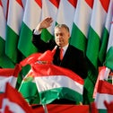 Prime Minister Viktor Orban waves during the final electoral rally of his successful 2018 campaign for his Fidesz party in Szekesfehervar, Hungary