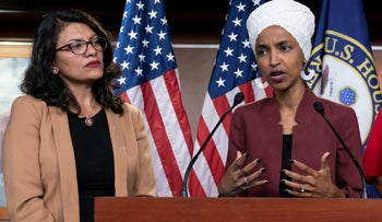 U.S. Rep. Ilhan Omar, right, speaking as Rep. Rashida Tlaib listens during a news conference at the Capitol, Washington, in July 2019.