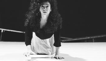 """Out, damned spot; out I don't say - Roni Einav, in """"Macbeth without words"""", Gesher Theater"""