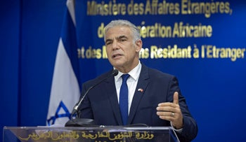 Foreign Minister Yair Lapid speaking in the Moroccan capital, Rabat, on Wednesday.