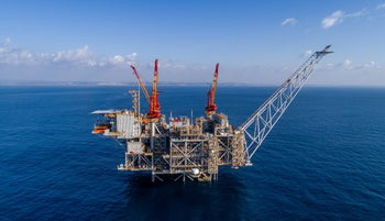 The Leviathan natural gas field in the Mediterranean Sea, off Israel's coast, near the northern coastal city of Caesarea, 2019.