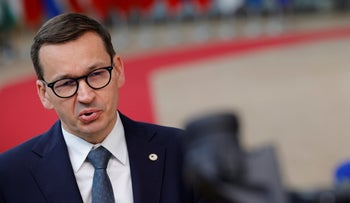 Polish Prime Minister Mateusz Morawiecki arrives for an EU summit at the European Council building in Brussels, in June.