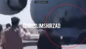A video showing Afghans clinging to the undercarriage of a plane leaving Kabul airport