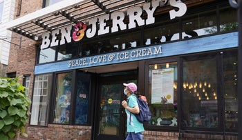"""A Ben & Jerry's branch in Vermont featuring the slogan """"Peace, love & ice cream."""""""