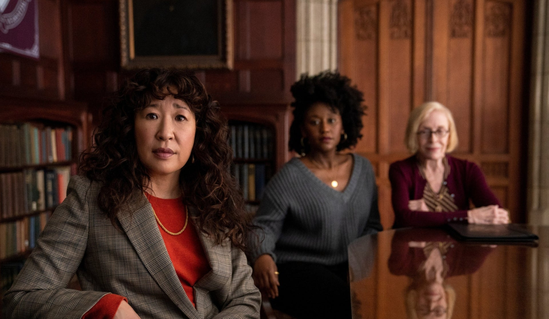 """Sandra Oh, Nana Mensah and Holland Taylor in new Netflix comedy """"The Chair."""""""