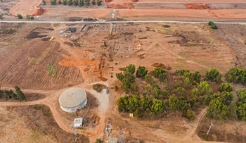Aerial view of the archeological excavation.