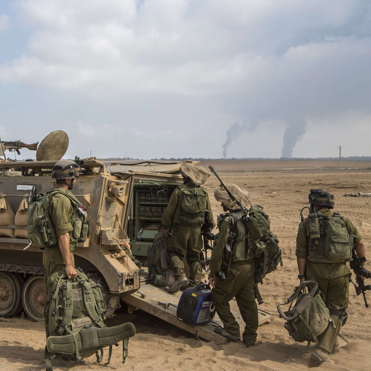 Israeli soldiers prepare for combat in the Gaza Strip during 2014's Operation Protective Edge.