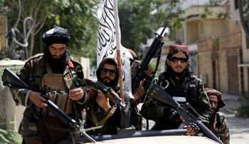 Taliban fighters in Kabul, Afghanistan on Thursday.