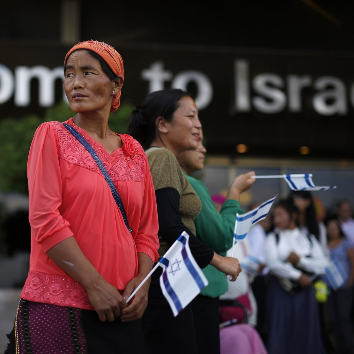 Members of the Bnei Menashe community at Ben-Gurion Airport in pre-COVID times.