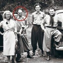 Adolf Eichmann (circled), with Gerhard Klammer to his left, in Argentina with Capri employees in 1952.