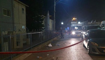 The scene of the suspected murder in Shlomi, on Monday.